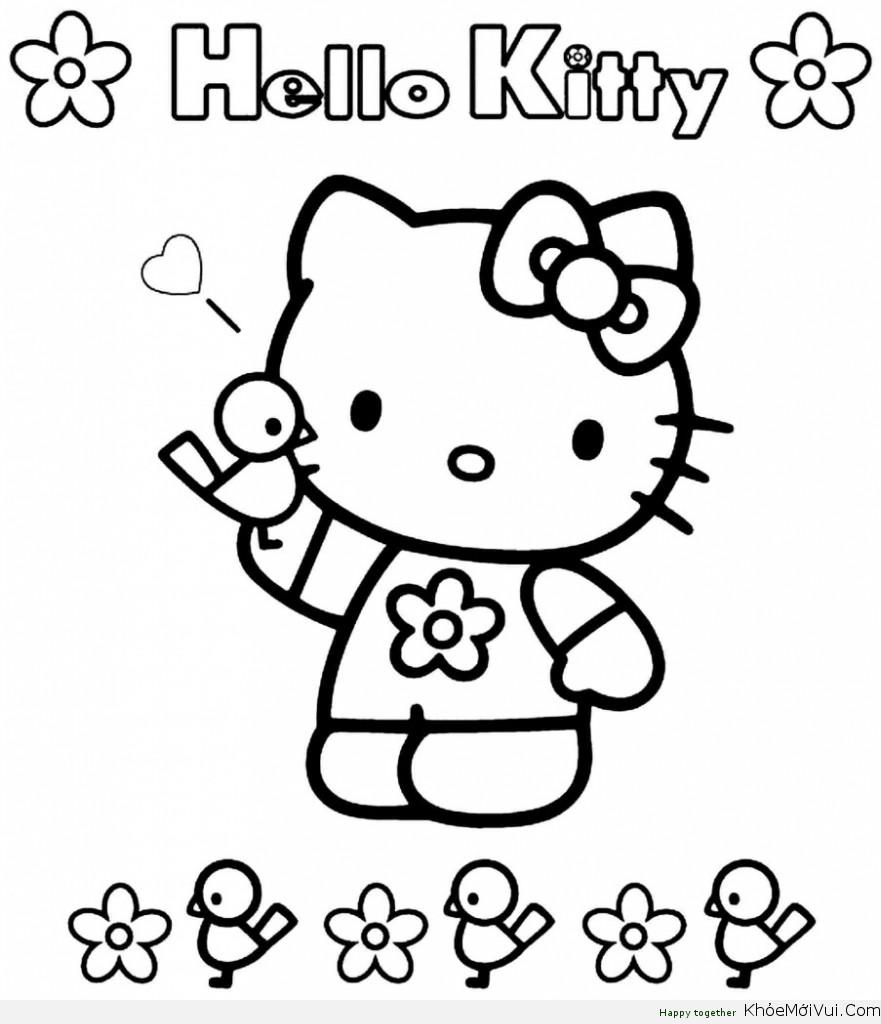 Một số hình ảnh trong bộ chủ đề tranh tô màu cho bé hello kity