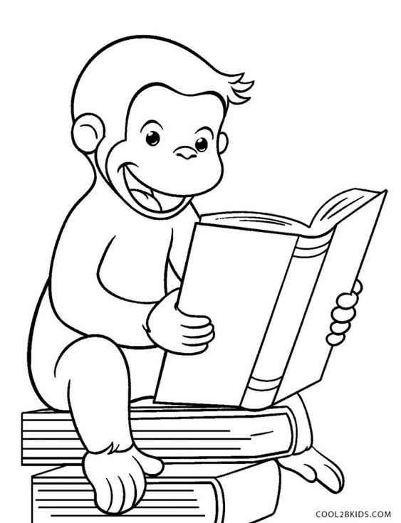 tranh tô màu con khỉ đọc sách