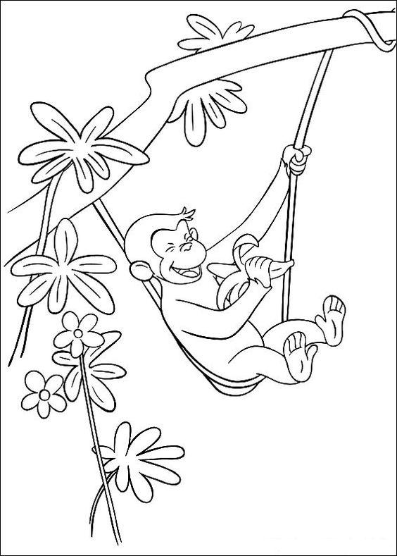 tranh tô màu con khỉ đu dây