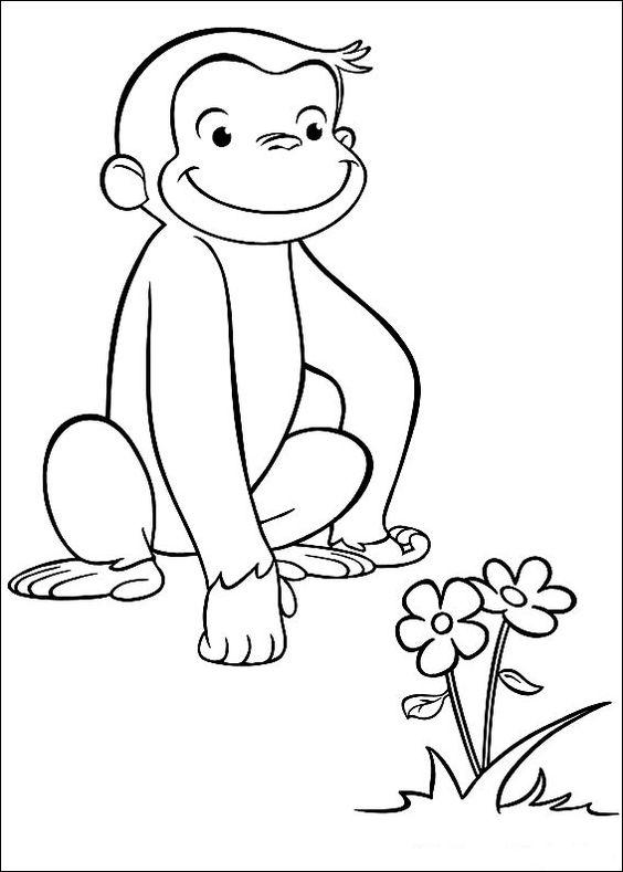 tranh tô màu con khỉ và bông hoa