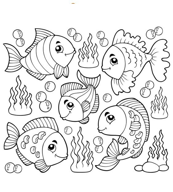 tranh tô màu các loài cá sống dưới biển