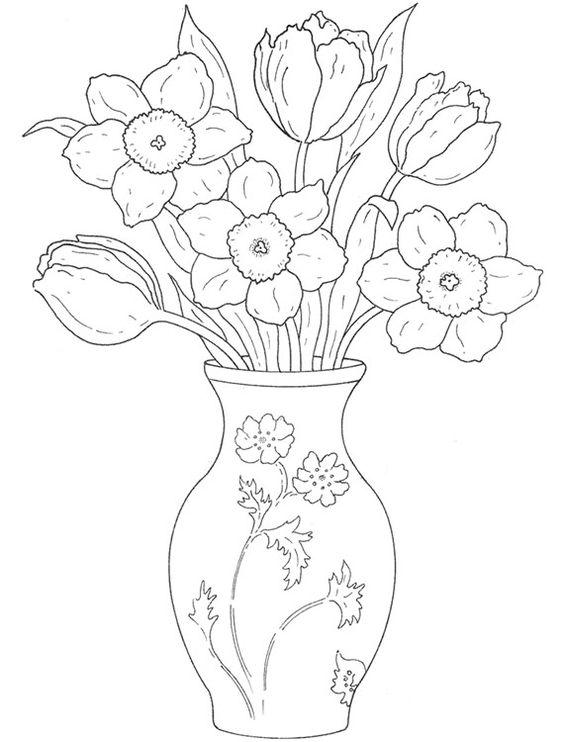 tranh tô màu bình hoa