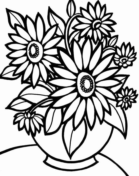 tranh tô màu bình hoa hướng dương