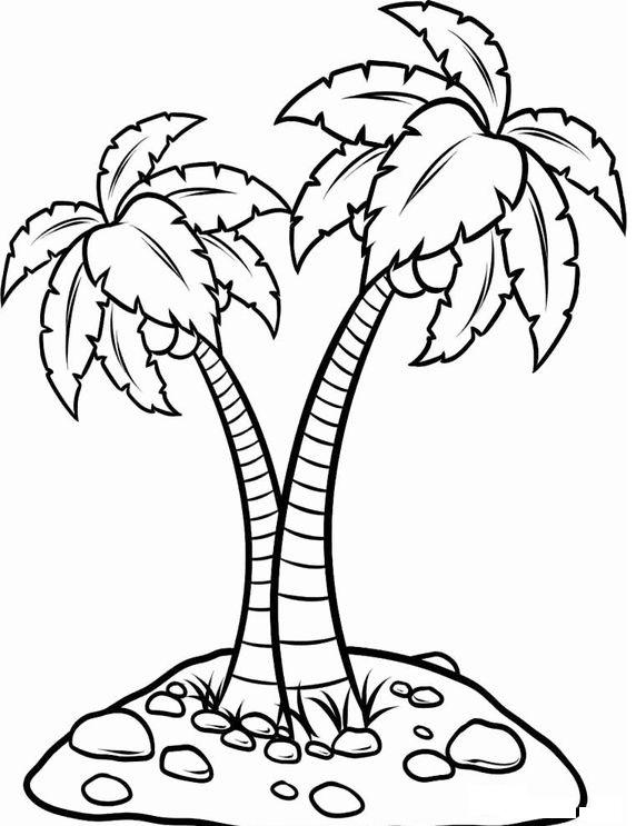 tranh tô màu cây dừa