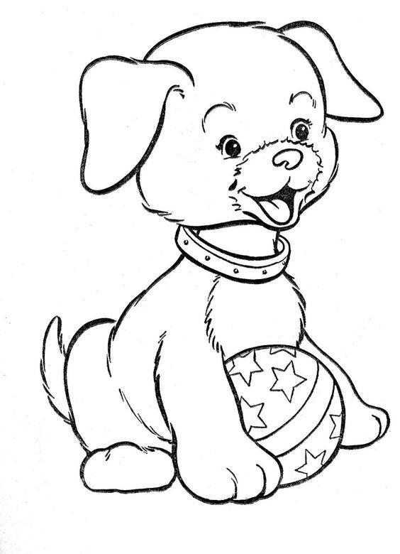 tranh tô màu con chó và quả bóng