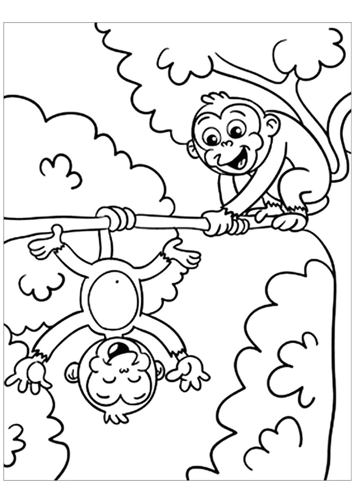 tranh tô màu con khỉ trèo cây
