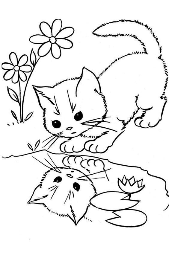 tranh tô màu con mèo soi gương