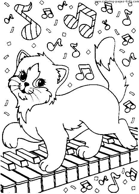 tranh tô màu con mèo trên phím nhạc
