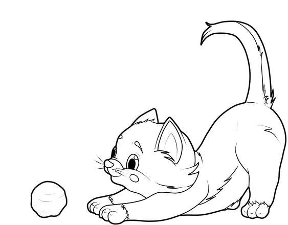 hình tô màu con mèo trong và quả bóng