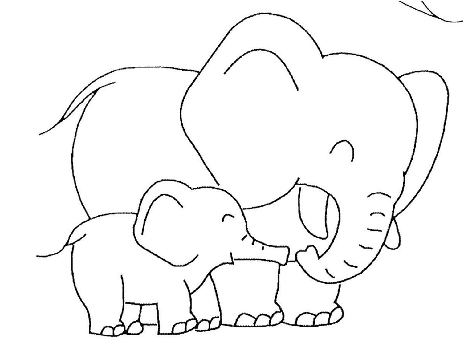 hình tô màu con voi